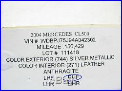 00-06 Mercedes W215 Cl55 Cl600 Cl500 Lower Seat Skin Passenger Front 111418