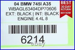 02-05 BMW E65 E66 745i 745Li Rear Lower Bench Seat Cushion Cover Black A35 OEM