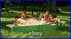 10' by 10' Sandbox With Cover, 4-Corner Seats, 1-Bench Seat, Ground Barrier