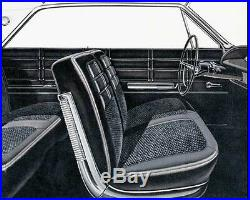 1963 Chevy Impala Front Split Bench Seat Cover BLACK
