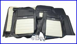 1964-1966 Mustang Conv Deluxe Front Bench & Rear Seat Cover Set-Black/White