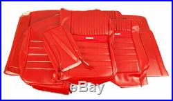 1964-1966 Mustang Deluxe Pony Front Bench & Rear Seat Cover Set-Red