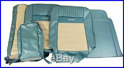 1964-1966 Mustang Deluxe Pony Front Bench Seat Cover-Turquoise/White