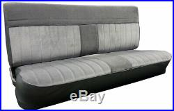 1981-87 Fullsize Chevy GMC Truck Front Vinyl & Cloth Bench Seat Cover Charcoal