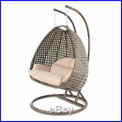 2 Person Outdoor Strong Rattan Hanging Wicker Swing Chair Egg Swing XL with Cover