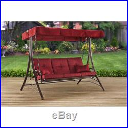 3 Person Outdoor Steel Porch Swing With Canopy Cover Cushion Patio Bed Seat Red
