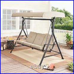 3-Person Porch Swing Outdoor Garden Patio Hanging Bench Seat with Canopy Cover