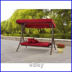 3 Seat Canopy Porch Swing Chair Bed Outdoor Patio Furniture Cover Top Steel Red