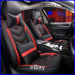 5-Seats SUV Car Seat Bench Cover & Pillows Black+Red PU Leather Cushion Pad USA