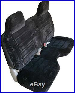 A27 BK Compact Truck RCab XCab Large Notched Cushion Bench Black Seat Cover