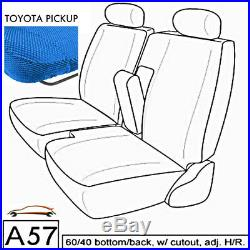 A57 BL Compact Truck XCab RCab Front 60/40 Split Bench Custom Blue Seat Cover