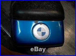 BMW 1981 82 83 84 R65 Dual Bench Seat, Blue Tail Cowl Trim hinges post OK cover