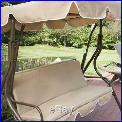 Backyard Canopy Swing 2 Person Outdoor Porch Chair Patio Covered Seat Tan Glide