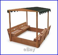 Badger Basket Covered Convertible Cedar Sandbox Canopy Bench Seats Outdoor 99895