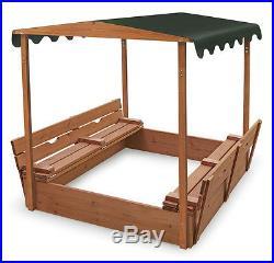 Badger Basket Covered Convertible Cedar Sandbox withCanopy & 2 Bench Seats 99895