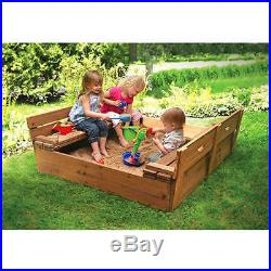 Badger Basket Covered Convertible Cedar Sandbox with 2 Bench Seats