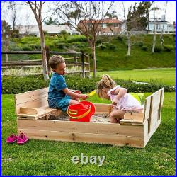 Be Mindful Extra Large Kids Sandbox with Cover and Bench Seat (Open Box)