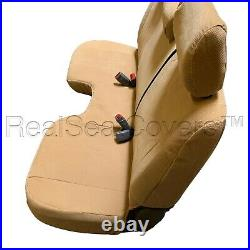 Beige Bench Seat Cover Large Notched Cushion Custom Fit 3 Adj Headrest Exact Fit