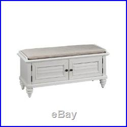 Bench Storage Cabinet Wood Frame Cushion Seat Fabric Cover Powder Coated Durable