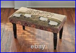 Benches Flock Of Sheep Upholstered Bench Hand Hooked Seat Cover Home Decor
