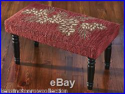 Benches Pinecone Upholstered Bench Hand Hooked Seat Cover
