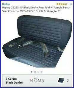 Bestop Fold-N-Tumble Rear Bench Seat Cover Black for Jeep CJ5/CJ7/Wrangler 65-95
