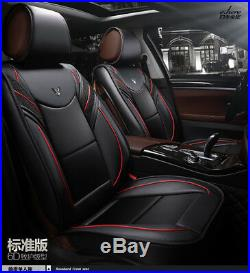 Black PU Leather Car Cushion Seat Cover Full Wrap Front+Rear Bench 5-Seats Pad