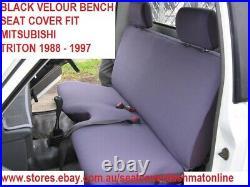 Black Velour Bench Seat Cover Fit Mitsubishi Triton 1988 1997