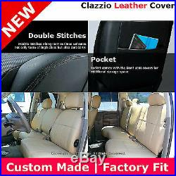 Clazzio 1ST & 2ND Row Leather Seat Cover Black 03-05 Dodge Ram Quad Rear Bench