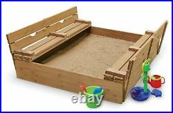 Convertible Wooden Sandbox with Cover 2-Bench Seats Kids Outdoor Fun Activity Play