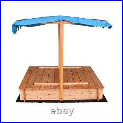 Covered Convertible Outdoor Sand Pit Fir Sandbox with Canopy with 2 Bench Seats
