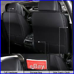 Deluxe Leather Car Seat Covers 5 Seats Split Bench Rear Cushion Cover Universal