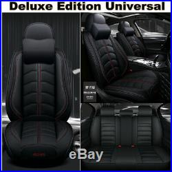 Deluxe PU Leather Car Seat Cover Bucket Bench Cushion Black with Travel Pillows US