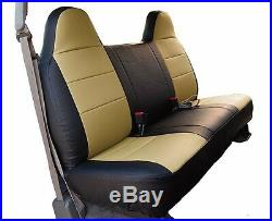 Ford F-150 Black/beige Iggee S. Leather Custom Fit Bench Front Seat Cover