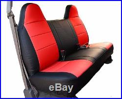 Ford F-150 Black/red Iggee S. Leather Custom Fit Bench Front Seat Cover