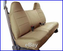 Ford F-250 350 Beige Iggee S. Leather Custom Fit Bench Front Seat Cover