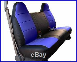 Ford F-250 350 Black/blue Iggee S. Leather Custom Fit Bench Front Seat Cover