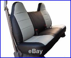 Ford F-250 350 Black/grey Iggee S. Leather Custom Fit Bench Front Seat Cover