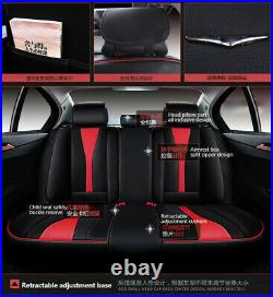 Full Set Black +Red PU Leather Car Seat Cover Universal Bench Cushion Pad Pouch