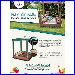 Kids Canopy Covered Cedar Sandbox with Foldable Bench Seats by Naomi Home