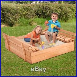 Kids Folding Retractable Bench Seat Toy Backyard Playground Covered Sandbox Set