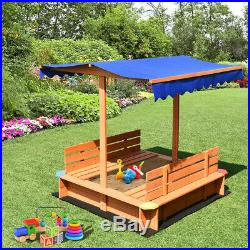 Kids Sandbox With Waterproof Cover Canopy Wooden 2 Bench Seats Outdoor Playset