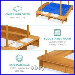 Kids Wooden Cabana Sandbox with Bench Seats Canopy Shade Sandpit Cover 2 Buckets