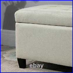 Modern Storage Ottoman Tufted Padded Seat Office Bench Covered Compartment Beige