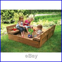 NEW Badger Basket Covered Convertible Cedar Sandbox with Two Bench Seats
