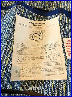 NOS Vintage 1950's BlueCoverall Car Seat Covers 2 dr sedan split back Bench
