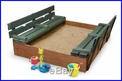Natural/Green Cedar 4' Rectangular Kid Sandbox 2 Bench Seats Convert To A Cover