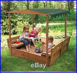 New Outdoor Kids Covered Convertible Cedar Sandbox With Canopy 2 Bench Seats
