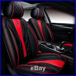 New Release Car Seat Cover Full PU Leather Set Black/Red Chair/Bench Protector