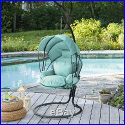 Outdoor Hanging Swing Lounge Chair Seat Cushion Canopy Cover with Stand, Aqua